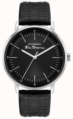 Ben Sherman | pulseira de couro com estampa xadrez preta para homem | mostrador preto BS031BB