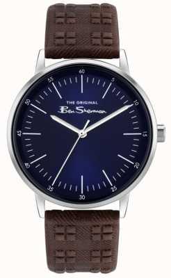 Ben Sherman | pulseira de couro com estampa xadrez marrom para homem | mostrador azul BS031BR