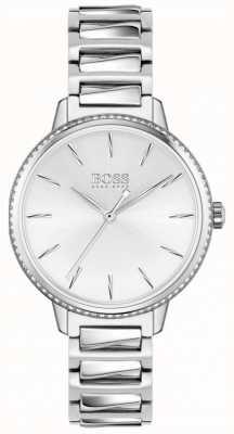 BOSS | assinatura feminina | pulseira de aço inoxidável | mostrador prateado 1502539
