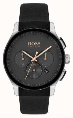 BOSS | pico masculino | pulseira de silicone preta | mostrador preto 1513759