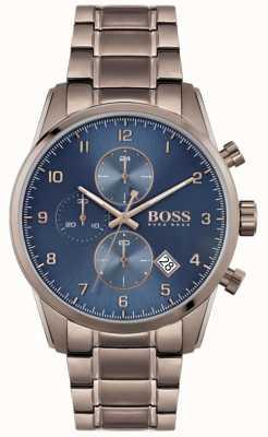 BOSS | skymaster de homem | pulseira marrom ionizada | mostrador azul 1513788