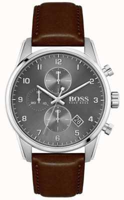 BOSS | skymaster de homem | pulseira de couro marrom | mostrador cinza 1513787