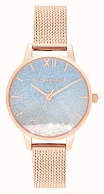 Olivia Burton Desejando onda | dial glitter | pulseira de malha de ouro rosa OB16EX204