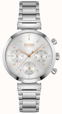 BOSS Impecável | pulseira de aço inoxidável para mulher | mostrador prateado 1502530