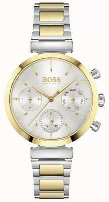 BOSS Impecável | pulseira de aço bicolor para mulher | mostrador prateado 1502550
