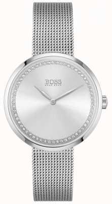 BOSS Elogio pulseira de malha de aço para mulher | mostrador de cristal de prata 1502546