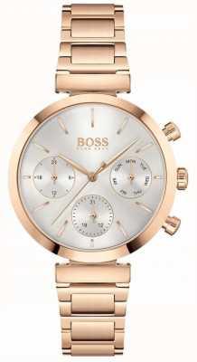 BOSS Impecável | pulseira pvd em ouro rosa para mulher | mostrador prateado 1502531
