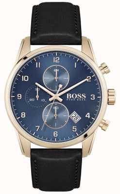 BOSS Skymaster pulseira de couro preto para homem | mostrador azul 1513783