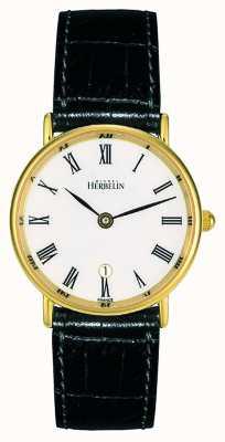 Michel Herbelin Pulseira de couro preto para mulher | mostrador branco | estojo de ouro 16845/P01