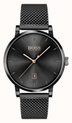 BOSS | confiança dos homens | pulseira de malha preta | mostrador preto 1513810