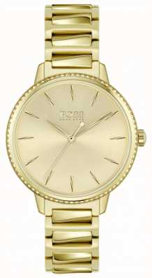 BOSS | assinatura feminina | pulseira de aço banhado a ouro | mostrador de ouro 1502541