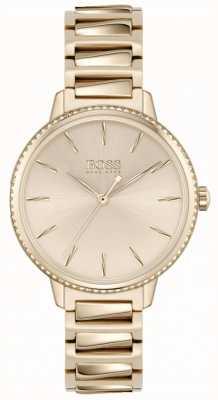BOSS Assinatura das mulheres | pulseira em aço ouro rosa | mostrador em ouro rosa 1502540