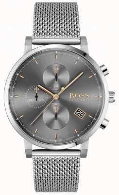 BOSS   integridade dos homens   pulseira em malha de aço   mostrador cinza / preto 1513807