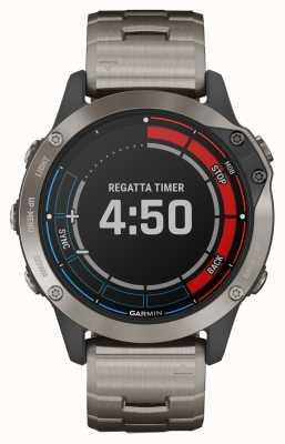 Garmin Safira Quatix 6 | cinta cinza titânio relógio marinho gps 010-02158-95