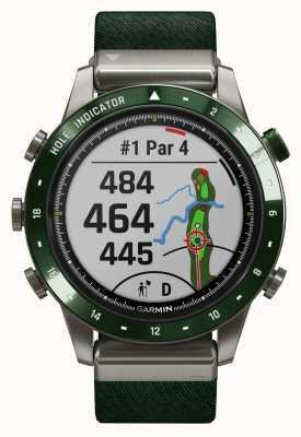 Garmin Jogador de golfe marq | pulseira de nylon verde e pulseira de borracha verde pinho 010-02395-00