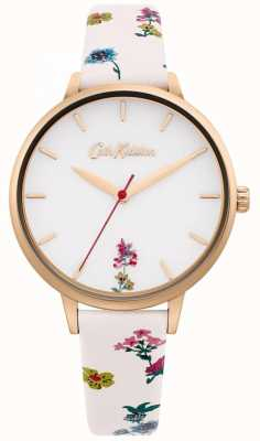 Cath Kidston | pulseira de couro creme floral para mulher | mostrador branco CKL100WRG
