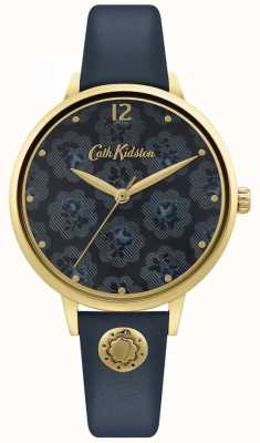Cath Kidston | pulseira de couro azul marinho para mulher | mostrador floral CKL093UG