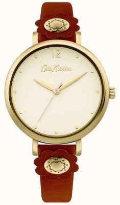 Cath Kidston | bracelete de couro castanho para mulher | mostrador prateado CKL101TG