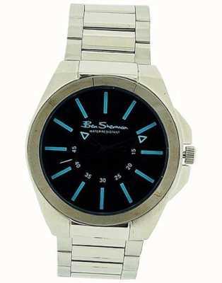 Ben Sherman | pulseira de couro preto para homem | mostrador retangular preto BS040B
