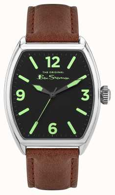 Ben Sherman | pulseira de couro marrom para homem | mostrador retangular preto BS040T