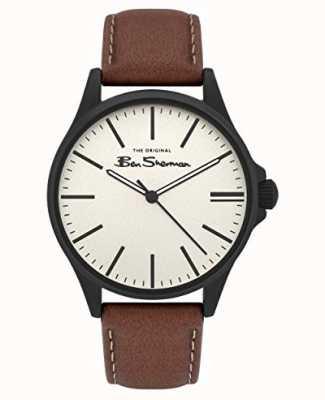 Ben Sherman | pulseira de couro marrom para homem | mostrador bege BS033T