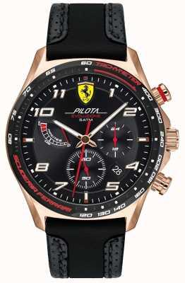 Scuderia Ferrari | pilota para homem | pulseira de couro preto / silicone | mostrador preto 0830719