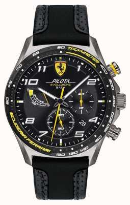 Scuderia Ferrari | pilota para homem | pulseira de silicone / couro preta | mostrador preto 0830718