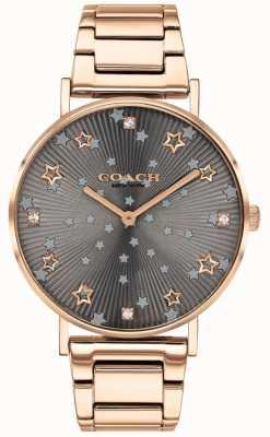 Coach | perada das mulheres | pulseira pvd em ouro rosa | marcação estrela cinza 14503524