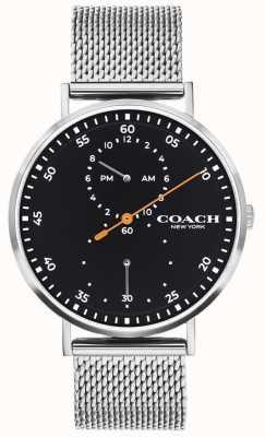 Coach | charles para homem | pulseira de malha de aço | mostrador preto 14602477
