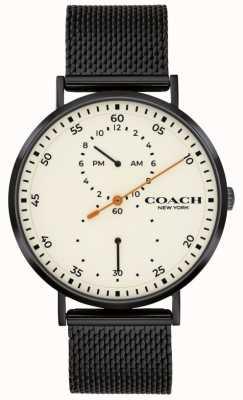 Coach | charles para homem | pulseira de malha preta | mostrador branco 14602480