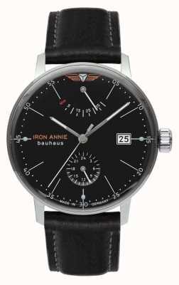 Iron Annie Bauhaus automático | pulseira de couro preto | mostrador preto 5060-2