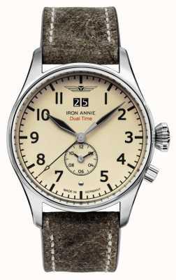 Iron Annie Controle de vôo de quartzo | pulseira de couro marrom | mostrador bege 5140-5