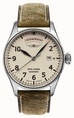 Iron Annie Controle de vôo automático | pulseira de couro marrom | mostrador bege 5164-3
