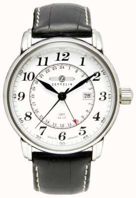 Zeppelin GM transatlântico Lz 127 | pulseira de couro preto | mostrador branco 7642-1