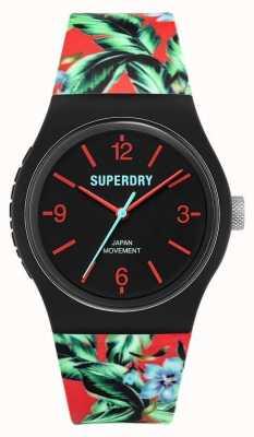 Superdry Urbano | pulseira de borracha floral multicolorida | mostrador preto SYG298BN