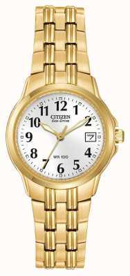 Citizen Pulseira feminina banhada a ouro eco-drive EW1542-59A