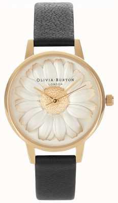 Olivia Burton Margarida 3d | pulseira de couro preto para mulher | margarida OB15EG38