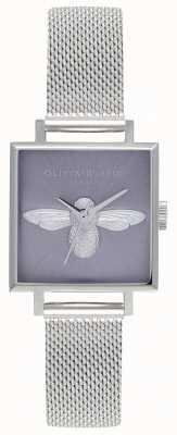 Olivia Burton Abelha 3d | pulseira de malha prateada para mulher | mostrador de abelha de prata OB16AM136