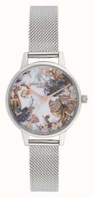 Olivia Burton Flores de mármore | pulseira de malha de aço para mulher | mostrador floral OB16CS16