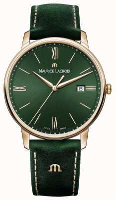 Maurice Lacroix Elrios pulseira de couro verde com estojo banhado a ouro EL1118-PVP01-610-1