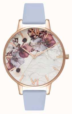 Olivia Burton Flores de mármore | pulseira de couro azul giz | mostrador floral OB16MF10