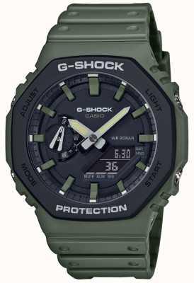 Casio G-shock | núcleo de carbono | pulseira de borracha verde | tela digital GA-2110SU-3AER