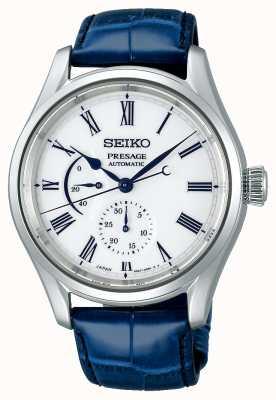 Seiko Mostrador de porcelana de edição limitada Presage   pulseira de couro azul SPB171J1