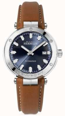 Michel Herbelin   newport para homem   pulseira de couro marrom   mostrador azul 1668/15GO
