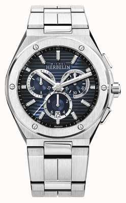 Michel Herbelin   camarat boné masculino   pulseira de aço inoxidável   mostrador azul 37645/B15