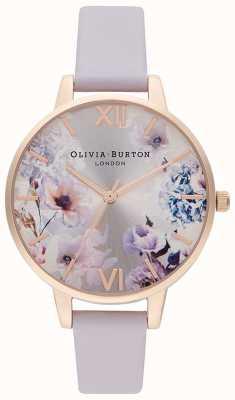 Olivia Burton Luz solar florais | pulseira de couro lilás para senhora | mostrador floral OB16EG140