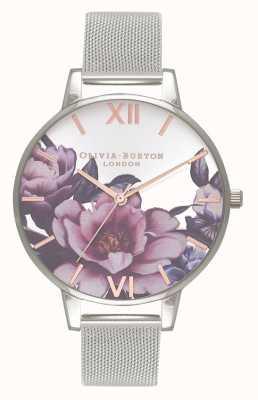 Olivia Burton Salão de mulheres | grande discagem peônia | pulseira de malha de prata OB16PL60