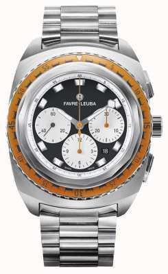 Favre Leuba Céu mar incursor | pulseira de aço inoxidável | mostrador preto / branco 00.10103.08.13.20