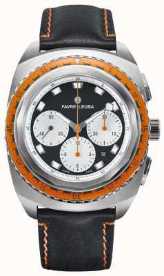Favre Leuba Céu do mar raider | pulseira de couro preta | mostrador preto / branco | 00.10103.08.13.41