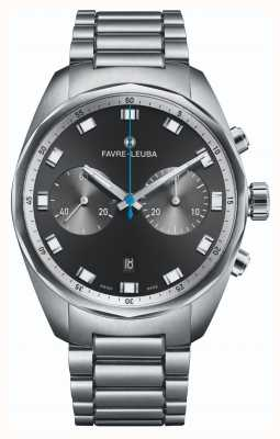 Favre Leuba Cronógrafo Sky Chief | pulseira de aço inoxidável | mostrador preto 00.10202.08.11.20
